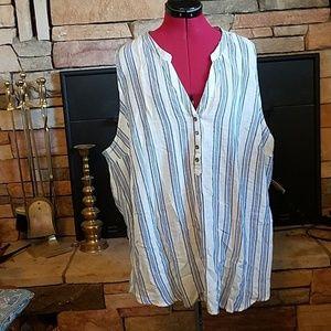 NEW TORRID Summery Striped Top Shirt sz 4 X Plus